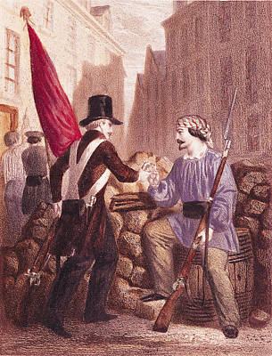 A Worker Sharing His Bread With A Student Carrying A Red Flag Art Print