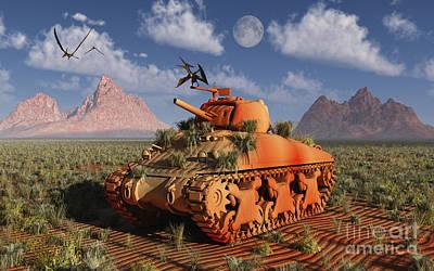 Animal Tracks Digital Art - A World War II American Sherman Tank by Mark Stevenson