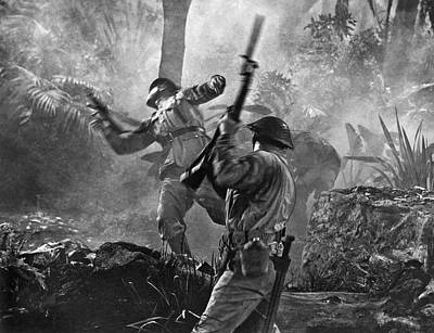 Photograph - A World War II Hand To Hand Combat Battle Scene. by Underwood Archives