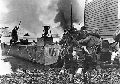A Wounded British Commando Is Being Evacuated After A Raid On Ge Art Print by Underwood Archives