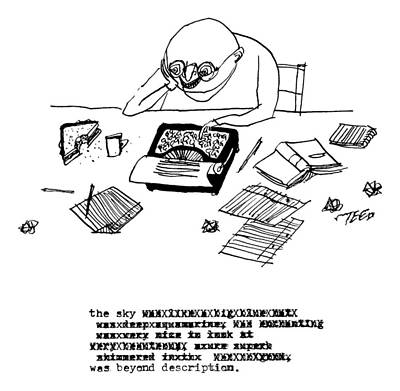 Edward-steed Drawing - A Writer Relaxes Behind His Typewriter by Edward Steed
