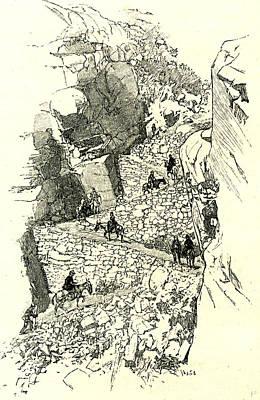 Yosemite Drawing - A Yosemite Trail 1891 Usa by English School