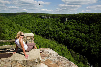 Little River Photograph - A Young Blond Woman Enjoys The View by Michael Hanson