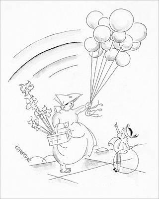 A Young Boy And A Balloon Vendor Art Print