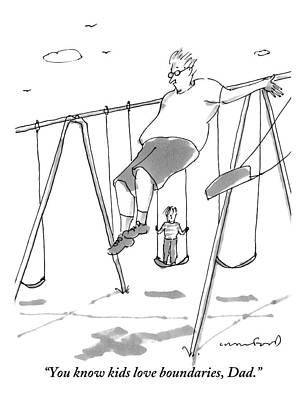 Playground Drawing - A Young Boy On A Swingset To His Father by Michael Crawford
