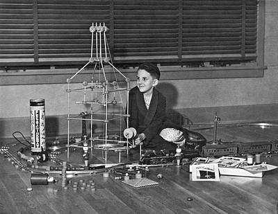 Tinker Toy Photograph - Boy With Tinker Toys by Underwood Archives
