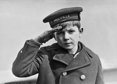 A Young Boy Saluting Art Print by Underwood Archives