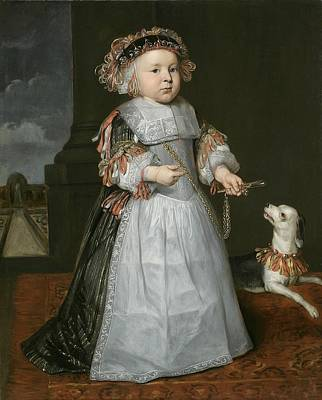 Toddler Portrait Painting - A Young Boy With A Dog, 1667 by Hendrick Berckman