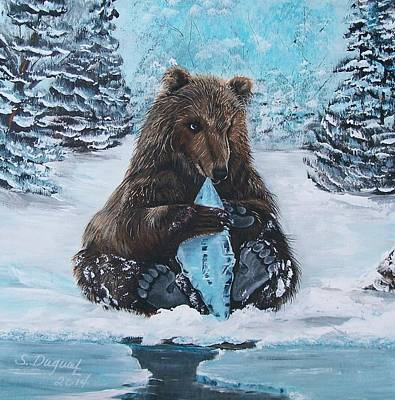 Painting - A Young Brown Bear by Sharon Duguay