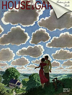 A Young Couple And Their Dogs On A Hilltop Art Print by Pierre Brissaud
