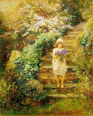 A Young Girl Carrying Violets Art Print by Celestial Images