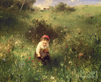 Girl In Landscape Painting - A Young Girl In A Field by Ludwig Knaus