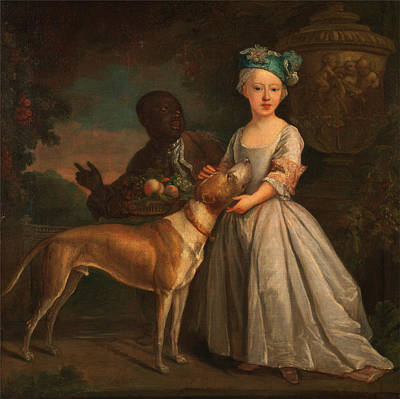 Baptizing Painting - A Young Girl With A Dog And A Page Signed In Lower Right B by Litz Collection