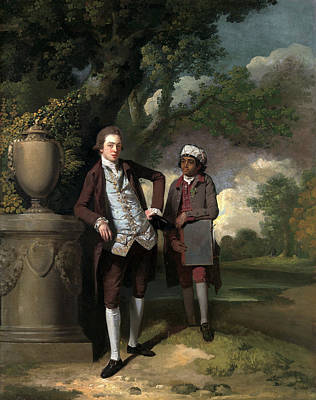 Portfolio Painting - A Young Man With His Indian Servant Holding A Portfolio by Litz Collection