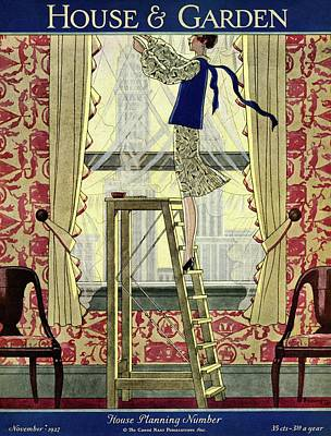 A Young Matron Adjusting Curtains Art Print by Pierre Mourgue