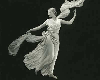 A Young Model Wearing A Vionnet Dress Art Print by George Hoyningen-Huene