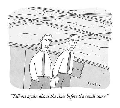 A Young Office Employee Asks An Older Employee Art Print by Peter C. Vey
