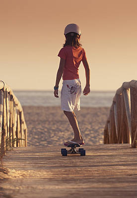 A Young Person Skateboarding With Bare Art Print
