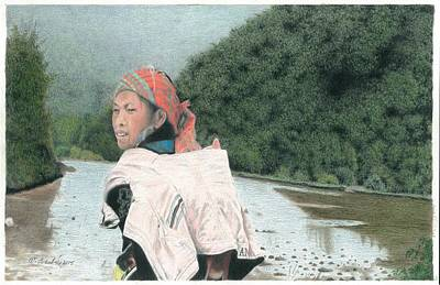 A Young Vietnamese Mother With Her Baby Art Print by Wilfrid Barbier