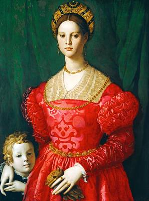 Little Master Painting - A Young Woman And Her Little Boy by Agnolo Bronzino