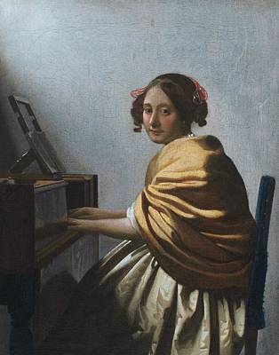 A Young Woman Seated At The Virginal Art Print by Johannes Vermeer