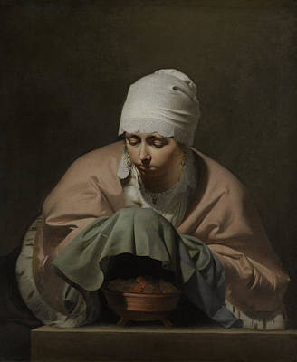 Bos Bos Painting - A Young Woman Warming Her Hands Over A Brazier Allegory by Quint Lox