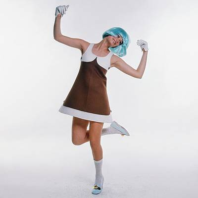 Photograph - A Young Woman Wearing A Blue Wig by Bert Stern