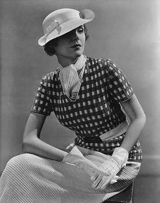 Photograph - A Young Woman Wearing A Checked Shirt And Panama by Lusha Nelson
