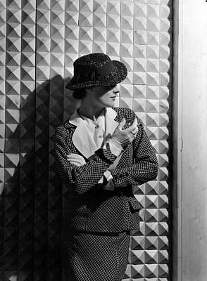 Photograph - A Young Woman Wearing A Checked Suit by Horst P. Horst