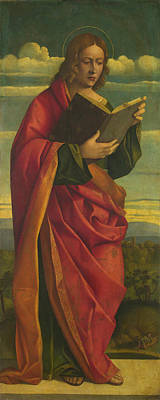 Religious Artist Painting - A Youthful Saint Reading by Attributed to Girolamo da Santacroce