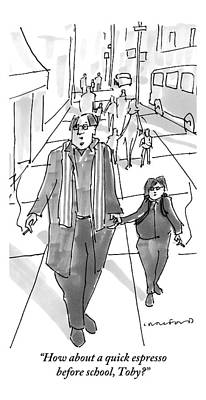Father And Son Drawing - A Yuppie Father And Son Walk Hand In Hand Smoking by Michael Crawford