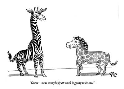 Zebra Drawing - A Zebra With Giraffe Spots Is Seen Speaking by Farley Katz