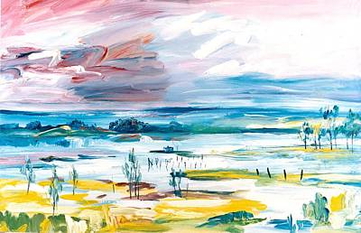 Painting - A01. Tidal Mud Flats  Aus by Les Melton
