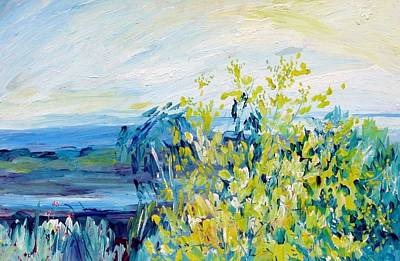 Painting - A02. Wattle Tree With Tidal Mud Flats Behind by Les Melton