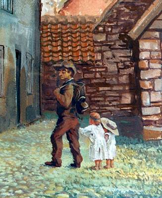 Painting - A03. Dad And Children by Les Melton