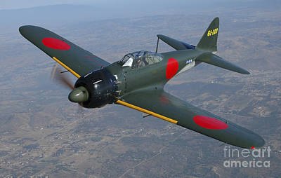 Transportation Royalty-Free and Rights-Managed Images - A6m Japaneese Zero Flying Over Chino by Phil Wallick