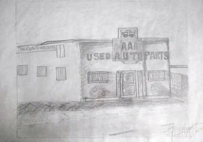 Art By James Eye Drawing - Aaa Used Auto Parts by James Eye