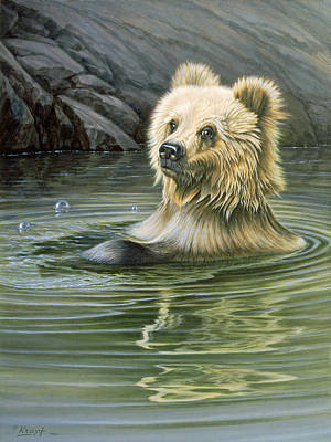 Brown Bear Painting - Aaaaah by Paul Krapf