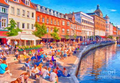 Aarhus Canal Digital Painting Art Print