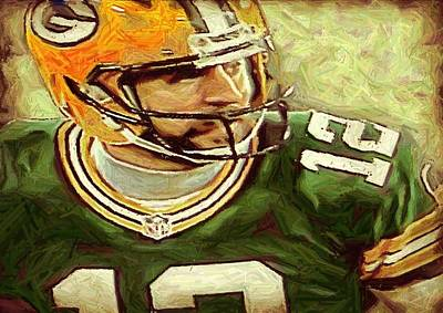 Digital Art - Aaron Rodgers  by Carrie OBrien Sibley