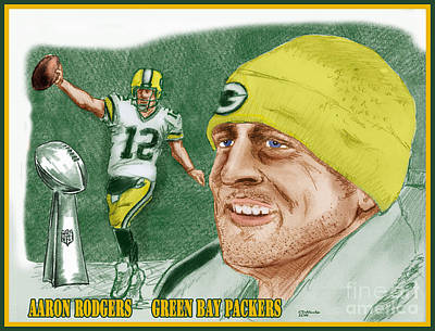 Drawing - Aaron Rodgers by Chris  DelVecchio