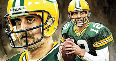 Nfl Quarterback Painting - Aaron Rodgers Green Bay Packers Quarterback Artwork by Sheraz A