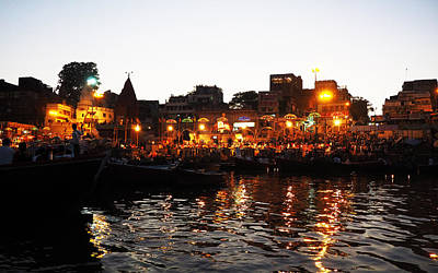 Photograph - Aarti At Dashashwamedh Ghat 2 by C H Apperson