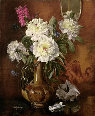 White Peonies In A Glazed Victorian Vase Art Print by Albert Williams