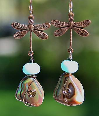 Photograph - Abalone Dragonfly Earrings by Kelly Nicodemus-Miller