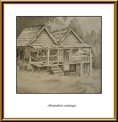 Abandoned House Drawing - Abandon Cottage by Jerome Perrin