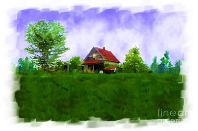 Rural Decay Digital Art - Abandond Farm House Digital Paint by Debbie Portwood
