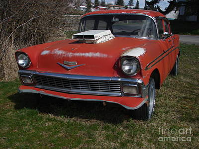 Photograph - Abandoned 1956 Red Chevy W Headers Front View by Windy Mountain