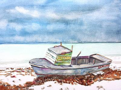 Painting - Abandoned Beached Wood Boat by Carlin Blahnik CarlinArtWatercolor