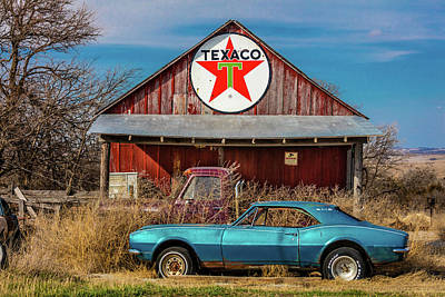 Texaco Wall Art - Photograph - Abandoned Blue Camaro Chevrolete by Panoramic Images